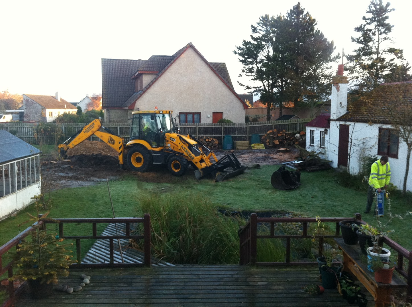 The JCB starts work